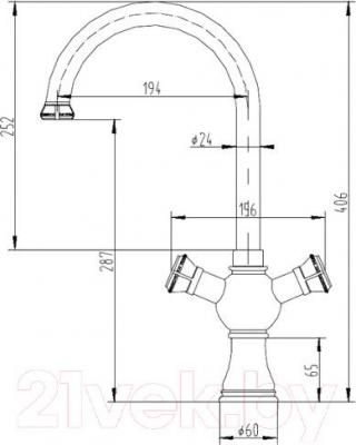 Смеситель ZorG Antic AZR 609 K-2-12 BR