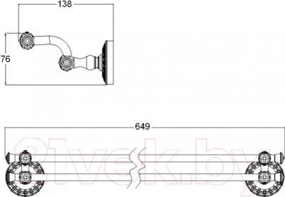 Держатель для полотенца ZorG Antic AZR-13 BR - технический чертеж