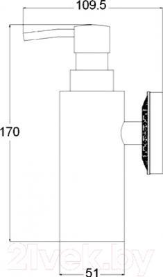 Дозатор жидкого мыла ZorG AZR 16 BR - технический чертеж