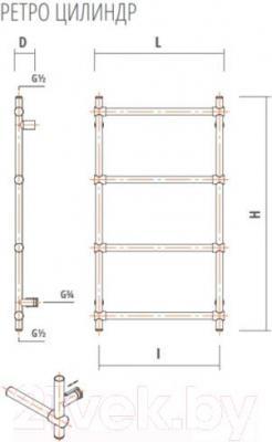 Полотенцесушитель водяной ZorG Ретро Цилиндр 500x700 (античная бронза) - схема