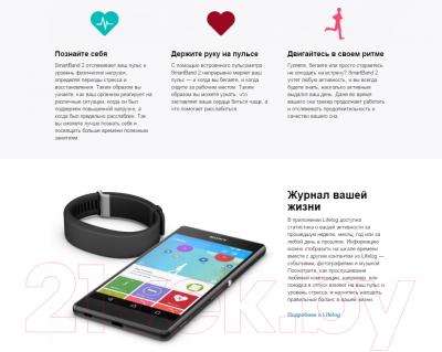 Фитнес-трекер Sony Smartband 2 SWR12RU/B (черный)