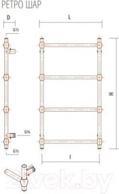 Полотенцесушитель ZorG Ретро Шар 500x700 (античная бронза) - схема
