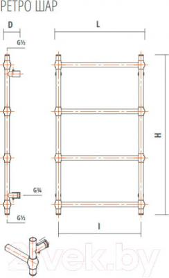 Полотенцесушитель водяной ZorG Ретро Шар 500x700 (хром) - схема
