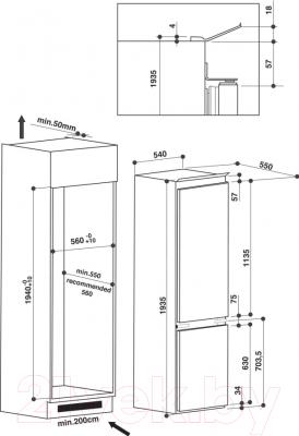 Холодильник с морозильником Whirlpool ART 9812/A+ SF