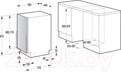 Посудомоечная машина Gorenje GV50211 - схема встраивания