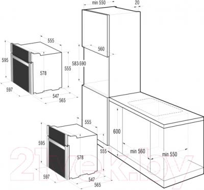 Электрический духовой шкаф Gorenje BO731CLB - схема встраивания