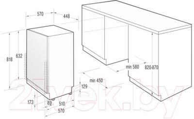 Посудомоечная машина Gorenje MGV5121 - схема встраивания