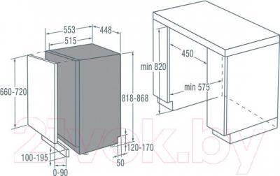 Посудомоечная машина Gorenje GDV530X - схема встраивания