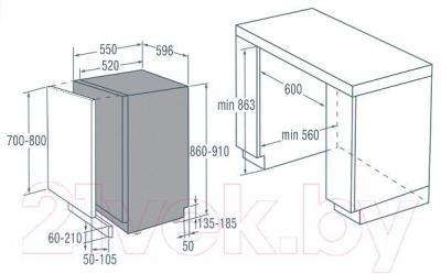 Посудомоечная машина Gorenje GDV630X - схема встраивания