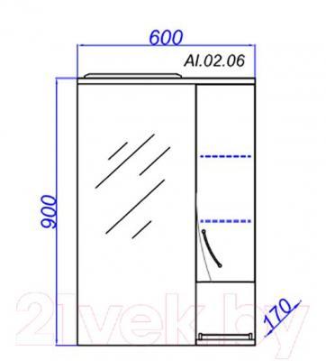 Шкаф с зеркалом для ванной Aqwella Алина 65 (Al.02.06) - технический чертеж