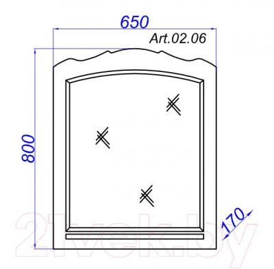Зеркало для ванной Aqwella АртДеко 65 (Art.02.65) - технический чертеж