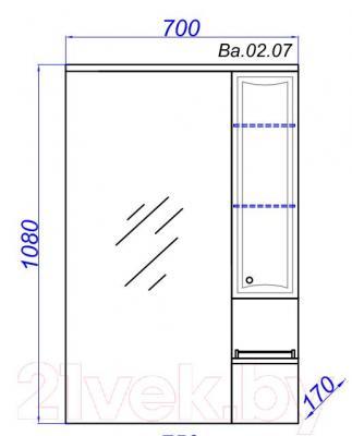 Шкаф с зеркалом для ванной Aqwella Барселона Люкс 75 (Ba.02.07) - технический чертеж