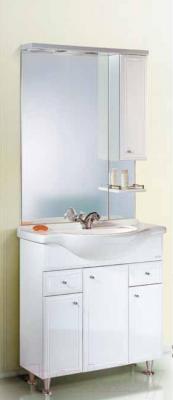 Шкаф с зеркалом для ванной Aqwella Барселона Люкс 75 (Ba.02.07) - в интерьере с тумбой под умывальник
