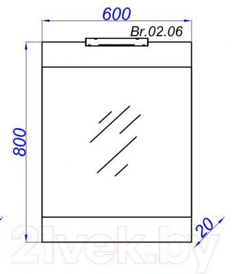 Зеркало для ванной Aqwella Бриг 60 (Br.02.06/SM) - технический чертеж