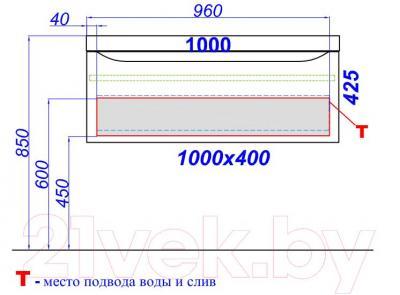 Тумба под умывальник Aqwella Верона 100 (Ver.01.10/A) - технический чертеж