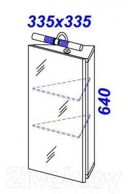 Шкаф с зеркалом для ванной Aqwella Дельта 45 (Del.04.33) - технический чертеж
