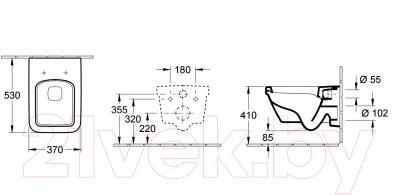 Унитаз подвесной Villeroy & Boch Architectura 5685-H1-01 - габаритные размеры