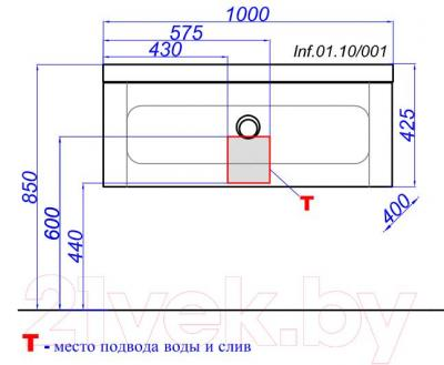 Тумба под умывальник Aqwella Инфинити 100 (Inf.01.10.001.BLK) - технический чертеж