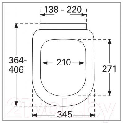 Сиденье для унитаза Villeroy & Boch Compact 9M66-S1-01 - габаритные размеры