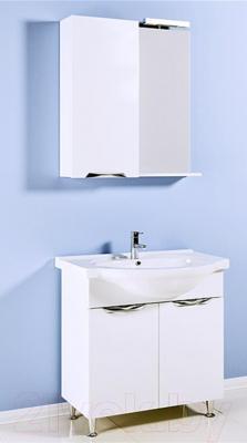 Шкаф с зеркалом для ванной Aqwella Лайн 65 (Li.02.06) - в интерьере с тумбой под умывальник