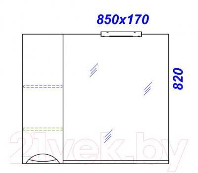 Шкаф с зеркалом для ванной Aqwella Лайн 85 (Li.02.08) - технический чертеж