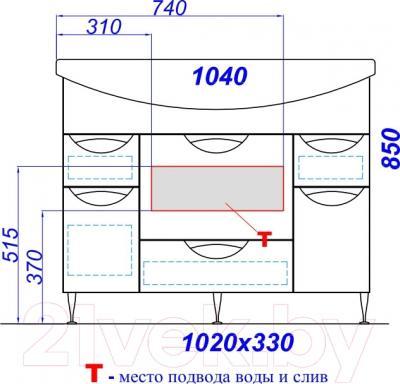 Тумба под умывальник Aqwella Лайн 105 (Li.01.10) - технический чертеж