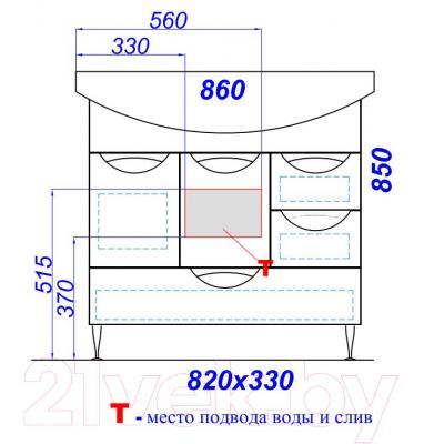 Тумба под умывальник Aqwella Лайн 85 (Li.01.08) - технический чертеж