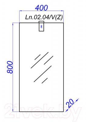 Зеркало для ванной Aqwella Леон 40 (Ln.02.04/V) - технический чертеж