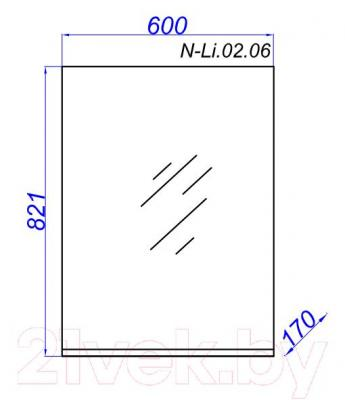 Зеркало для ванной Aqwella Н-Лайн 65 (N-Li.02.06) - технический чертеж