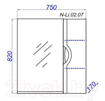 Шкаф с зеркалом для ванной Aqwella Н-Лайн 75 (N-Li.02.07) - технический чертеж