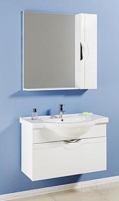 Шкаф с зеркалом для ванной Aqwella Н-Лайн 75 (N-Li.02.07) - в интерьере с тумбой под умывальник