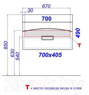 Тумба под умывальник Aqwella Темпо 70 (Tmp.01.07) - технический чертеж
