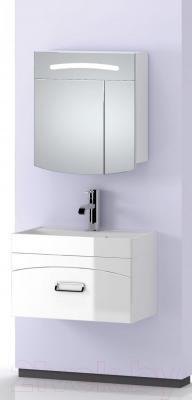 Шкаф с зеркалом для ванной Aqwella Темпо 70 (Tmp.04.06) - в интерьере с тумбой под умывальник