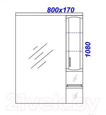 Шкаф с зеркалом для ванной Aqwella Харизма 80 (Kh.02.08) - технический чертеж