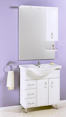 Шкаф с зеркалом для ванной Aqwella Харизма 80 (Kh.02.08) - в интерьере с тумбой под умывальник