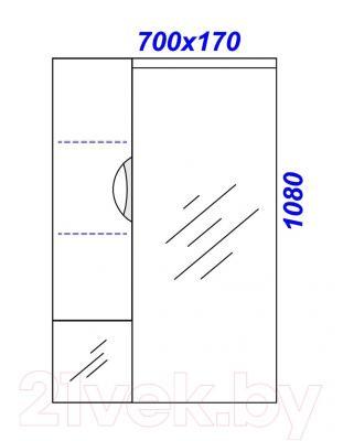 Шкаф с зеркалом для ванной Aqwella Эколайн 75 (Eco-L.02.07) - технический чертеж