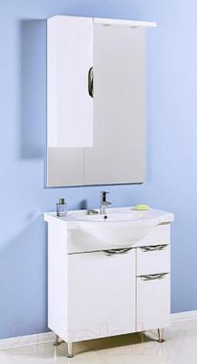 Шкаф с зеркалом для ванной Aqwella Эколайн 75 (Eco-L.02.07) - в интерьере с тумбой под умывальник