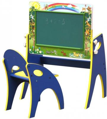 Парта-мольберт+стул Интехпроект Буквы-цифры 14-101-БСН (синий) - общий вид