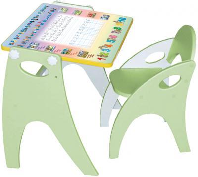 Парта-мольберт+стул Интехпроект Буквы-цифры 14-313 (фисташковый) - общий вид