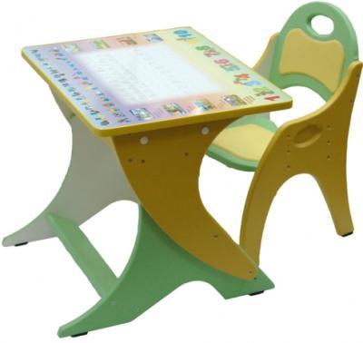 Стол+стул Интехпроект Буквы-цифры 14-337 (фисташковый и желтый) - общий вид