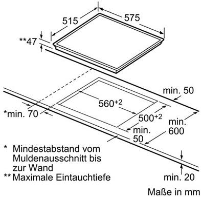 Электрическая варочная панель Siemens ET645EN15D - схема встраивания