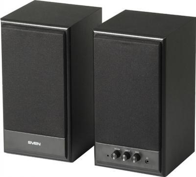 Мультимедиа акустика Sven SPS-702 (черный, кожа) - общий вид