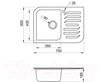 Мойка кухонная Granula GR-7001 (жасмин)