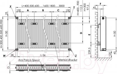 Радиатор стальной Pekpan 21PKP (21500800) - схема