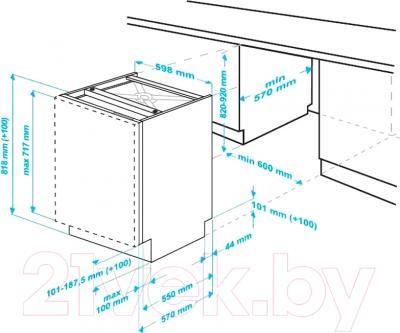 Посудомоечная машина Beko DIN26220 - схема установки