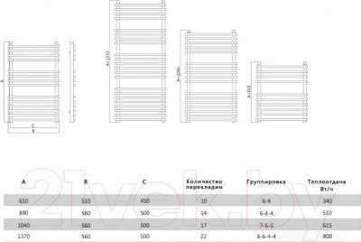 Полотенцесушитель водяной Terminus Ватра 32/20 П22 500x1370 - схема