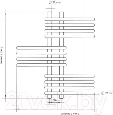 Полотенцесушитель водяной Terminus Европа 32/20 П20 640x1030 - схема