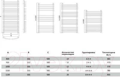 Полотенцесушитель водяной Terminus Марио 32/20 П14 500x830 - схема