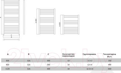 Полотенцесушитель водяной Terminus Сицилия 35х35/20 П10 500х646 - схема