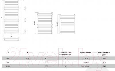 Полотенцесушитель водяной Terminus Соренто П12 500x756  - схема